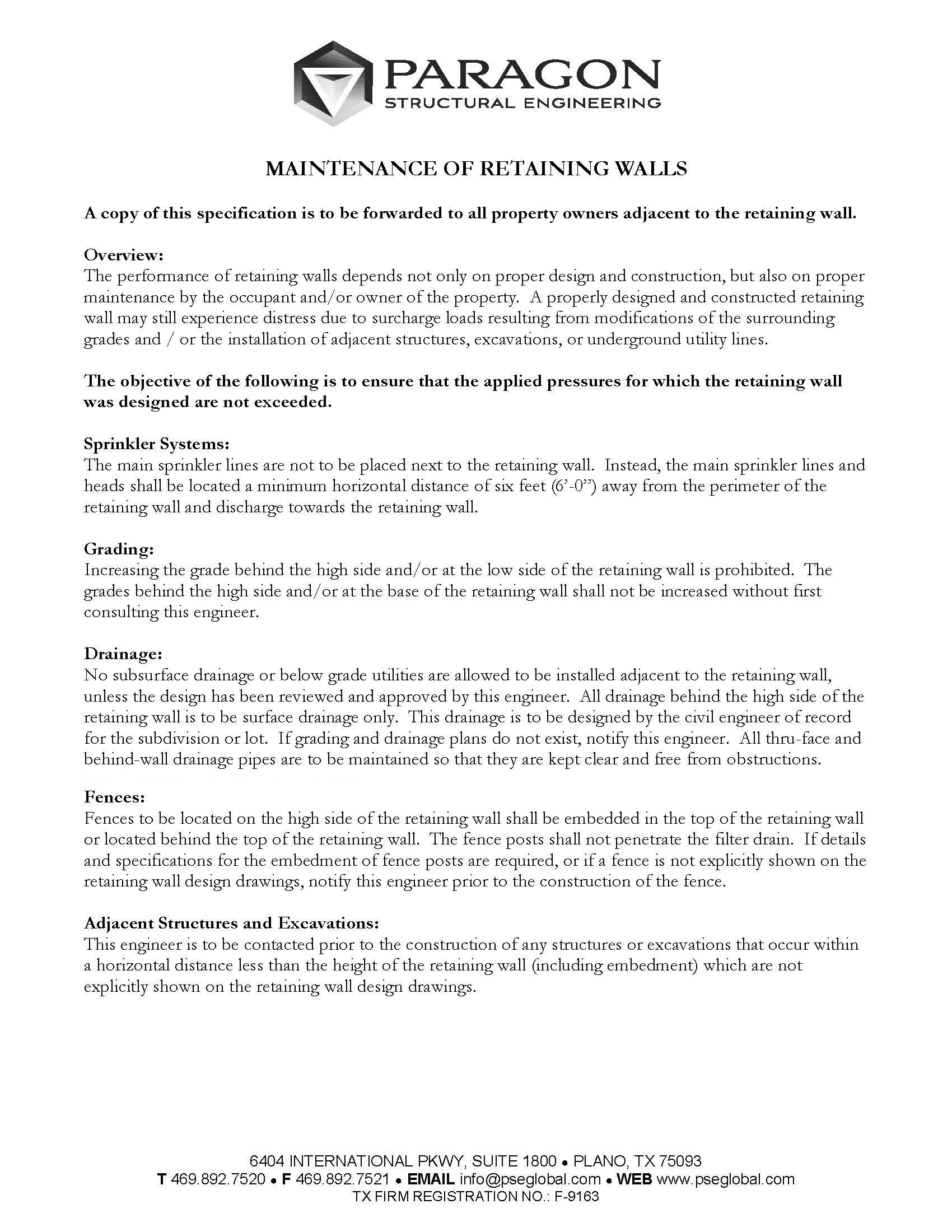 maintenance retaining walls